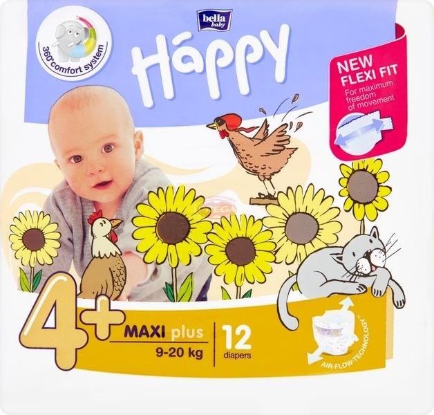 Bella Baby Happy Pieluszki jednorazowe 4+ maxi plus 9-20 kg 12 sztuk