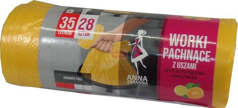 Anna Zaradna worki na śmieci z uszami 35L 28 szt o zapachu cytrusowym