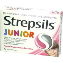 Strepsils Junior pastylki truskawkowe bez cukru 12szt.