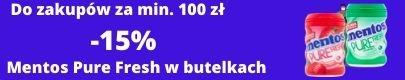 Do zakupów od 100 zł Mentos pure Fresh butlka -15%